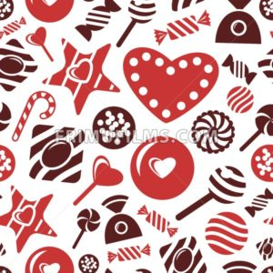 Digital vector red brown sweet candies icons with drawn simple line art info graphic, presentation with sweety, seamless pattern, chocolate and cookies elements around promo template, flat style - frimufilms.com