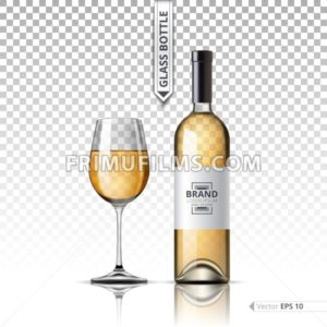Realistic Glass of Red wine and bottle isolated on transparent background. Vector 3d detailed mock up set illustrations - frimufilms.com