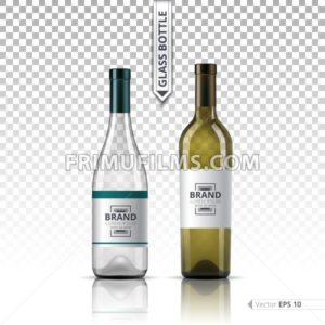 Realistic Glass of White wine and bottle isolated on transparent background. Vector 3d detailed mock up set illustration - frimufilms.com