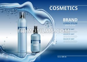 Cosmetic realistic package ads template. Body foam and gel products bottles. Mockup 3D illustration. Sparkling water drops background - frimufilms.com