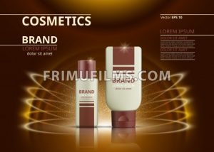 Cosmetic realistic package ads template. Body lotion products bottles. Mockup 3D illustration. Sparkling background - frimufilms.com