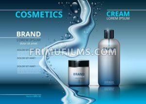 Cosmetic realistic package ads template. Face and body cream hydrating products in blue bottles. Mockup 3D illustration. Sparkling water drops backgrounds - frimufilms.com