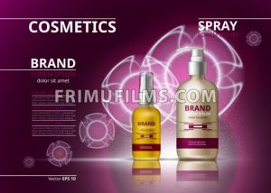 Cosmetic realistic package ads template. Hydrating skin oil and gel products bottles. Mockup 3D illustration. Sparkling backgrounds - frimufilms.com