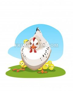 Digital vector funny comic cartoon colored angry mother chicken protecting small yellow chicks, hand drawn illustration, abstract realistic flat style - frimufilms.com