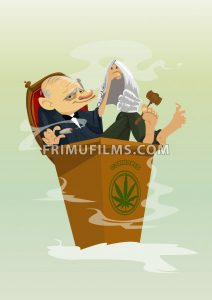Digital vector funny comic cartoon colored judge smoking cannabis, hand drawn illustration, abstract realistic flat style - frimufilms.com
