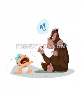 Digital vector funny comic cartoon colored monkey wondering what a red candy is and crying baby, hand drawn illustration, abstract realistic flat style - frimufilms.com