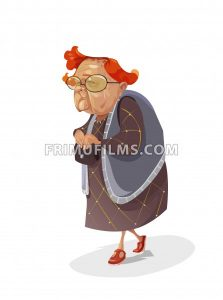 Digital vector funny comic cartoon old red hair insidious subtle grandmother with big glasses holding her purse and looking towards camera, abstract realistic flat style - frimufilms.com
