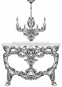 Exquisite Baroque console table engraved. Vector French Luxury rich intricate ornamented structure. Victorian Royal Style decor - frimufilms.com