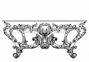 Exquisite Baroque console table engraved. Vector French Luxury rich intricate ornamented structure. Victorian Royal Style decors - frimufilms.com
