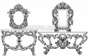 Exquisite Baroque dressing table engraved. Vector French Luxury rich intricate ornamented structure. Victorian Royal Style decors - frimufilms.com