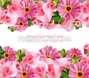 Pink floral card Vector. delicate summer card. Springtime fresh natural compositions - frimufilms.com