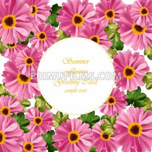 Pink floral round card Vector. delicate summer card. Springtime fresh natural compositions - frimufilms.com