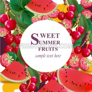 Summer watermelon, strawberry, cherries fusion background Vector illustration - frimufilms.com