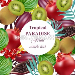 Tropical Paradise fruits avocado, papaya, kiwi, pomegranate, palm leaves Vector illustration - frimufilms.com