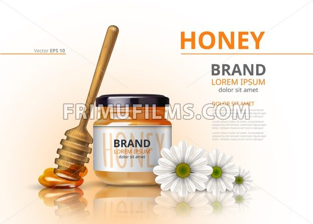 Acacia honey jar with wooden dipper Vector realistic mock up backgrounds - frimufilms.com