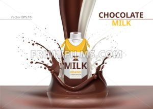 Chocolate Milk bottle package mock up Vector realistic on splash backgrounds - frimufilms.com