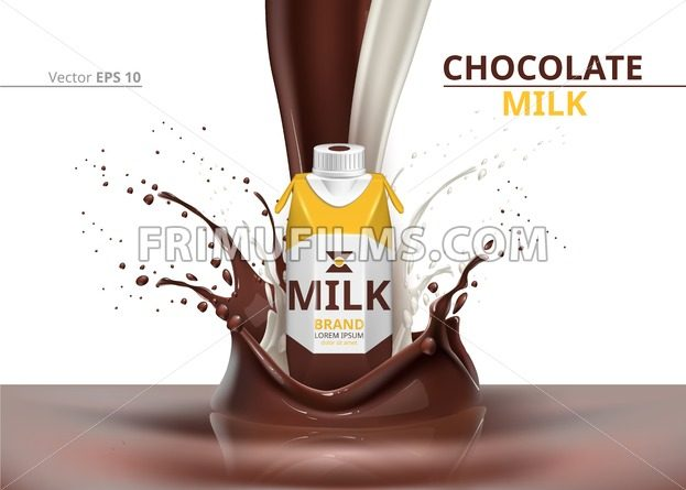 Chocolate Milk bottle package mock up Vector realistic on splash backgrounds - frimufilms.com