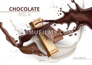 Chocolate bar caramel realistic Mock up Vector label design. Splash and chocolate drops backgrounds - frimufilms.com