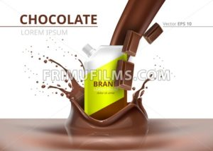 Chocolate package mock up Vector realistic on splash backgrounds - frimufilms.com