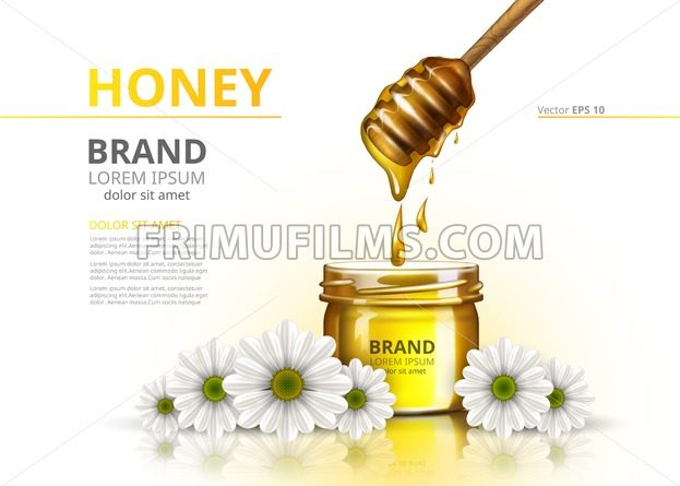 Honey jar Vector realistic mock up. Advertise commertial package on chamomile flower backgrounds - frimufilms.com