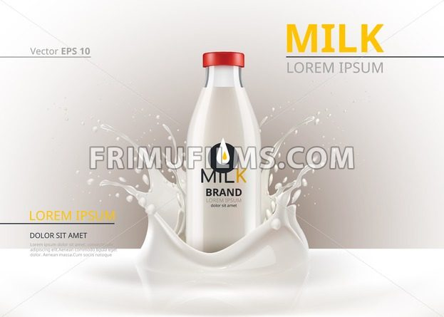 Milk bottle package mock up Realistic Vector. Liquid splash backgrounds - frimufilms.com