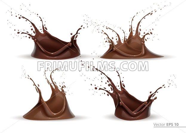 Realistic chocolate splash set Vector for design label, backgrounds, print, project - frimufilms.com