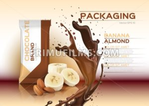 Chocolate with banana and almonds Vector realistic mock up. 3d packaging label design product. Chocolate splash background - frimufilms.com