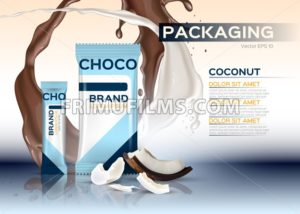 Coconut chocolate packaging Vector realistic. 3d label design product. Chocolate splash background - frimufilms.com