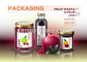Fruit pasta, jam and syrup bottles mock up. Vector realistic products. 3d packaging label design - frimufilms.com