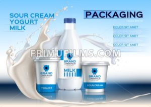 Milk mock up realistic Vector. Sour cream and yogurt products. 3d packaging label design. Milk splash background - frimufilms.com