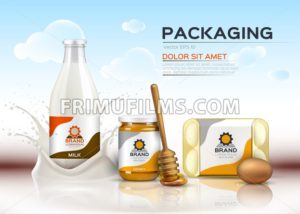 Vector realistic food products Milk and honey bottles, eggs packaging. 3d detailed mock up label design - frimufilms.com