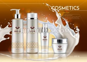 Cosmetic realistic package ads template. Hydrating Face and body cream products in white bottles. Vector Mockup 3D illustration. Milk splash drops background - frimufilms.com