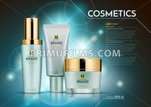 Cosmetics Vector realistic package ads template. Face and body cream bottles. Products Mockup 3D illustration. Sparkling blue background - frimufilms.com