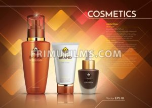 Cosmetics Vector realistic package ads template. Face cream and hair products bottles. Mockup 3D illustration. Abstract background - frimufilms.com