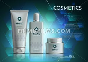 Cosmetics Vector realistic package ads template. Face cream and hair products bottles. Mockup 3D illustration. Abstract blue background - frimufilms.com