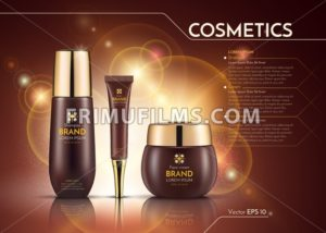 Cosmetics Vector realistic package ads template. Face cream and hair products bottles. Mockup 3D illustration. Sparkling background - frimufilms.com