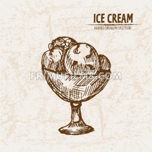 Digital vector detailed line art delicious ice cream in bowl hand drawn retro illustration collection set. Thin artistic pencil outline. Vintage ink flat, engraved mill doodle sketches. Isolated - frimufilms.com