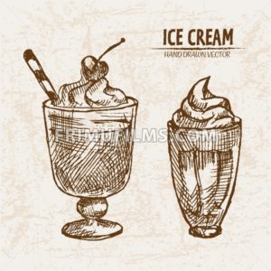 Digital vector detailed line art delicious ice cream in glass cups hand drawn retro illustration collection set. Thin artistic pencil outline. Vintage ink flat, engraved mill doodle sketches. Isolated - frimufilms.com