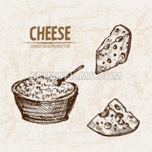 Digital vector detailed line art grated cheese with slices hand drawn retro illustration collection set. Thin artistic pencil outline. Vintage ink flat, engraved mill doodle sketches. Isolated - frimufilms.com