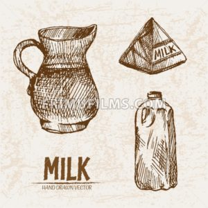 Digital vector detailed line art milk in different packages hand drawn retro illustration collection set. Thin artistic pencil outline. Vintage ink flat, engraved mill doodle sketches. Isolated - frimufilms.com