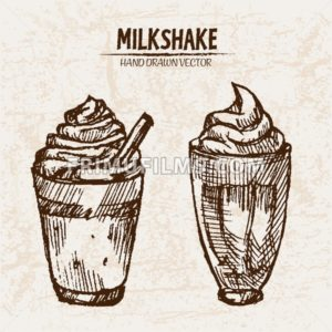 Digital vector detailed line art milkshake with whipped cream hand drawn retro illustration collection set. Thin artistic pencil outline. Vintage ink flat, engraved mill doodle sketches. Isolated - frimufilms.com