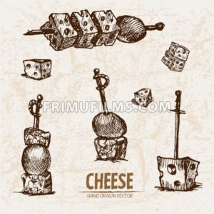 Digital vector detailed line art sliced cheese on skewer hand drawn retro illustration collection set. Thin artistic pencil outline. Vintage ink flat, engraved mill doodle sketches. Isolated - frimufilms.com