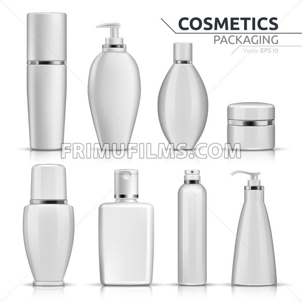 Realistic Cosmetic bottles mock up set on white background. Blank ...