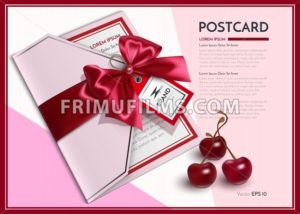 Realistic postcard or gift card Vector with red bow - frimufilms.com