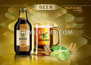 Vector Realistic beer bottle and glass. Brand packaging template. Logo designs. Gold background - frimufilms.com