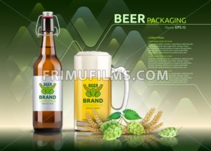 Vector Realistic beer bottle and glass. Brand packaging template. Logo designs. Green background - frimufilms.com