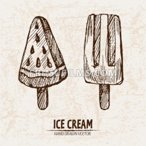 Digital vector detailed line art juicy ice cream on stick hand drawn retro illustration collection set. Thin artistic pencil outline. Vintage ink flat, engraved design doodle sketches. Isolated - frimufilms.com