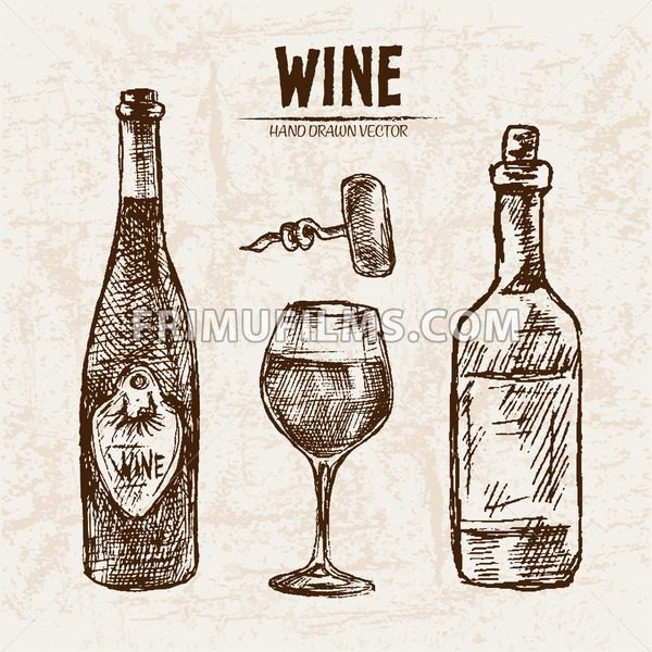 Digital Vector Detailed Line Art Wine Bottle Wineglass And Opener Hand Drawn Retro Illustration Collection