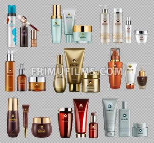 Cosmetics Vector realistic package ads template bundle. Face and body cream products bottles. Mockup 3D illustration. Sparkling background - frimufilms.com