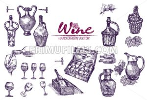 Digital color vector bundle set detailed line art vintage purple wooden wine barrels stacked hand drawn illustration set. Thin artistic pencil outline. Vintage ink flat, engraved doodle sketches - frimufilms.com